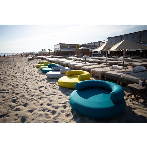 Coussin gonflable flottant galette ronde avec dossier ISLAND-PLUS GRIS